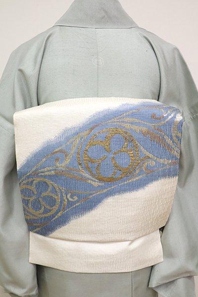 銀座【K-6959】西陣製 夏 織名古屋帯 白色 装飾文(栞付き・三越扱い)