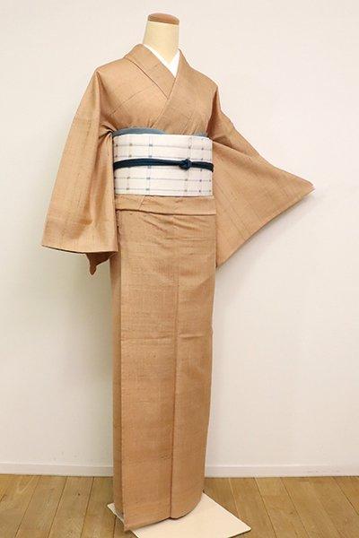 銀座【A-3167】単衣 紬 小麦色 無地(山本きもの工房扱い・反端付)