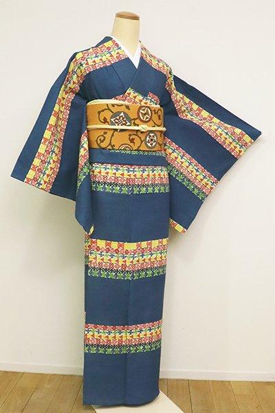 あおき【D-2590】(L)単衣 紬地 型絵染 小紋 藍色 装飾文の横段