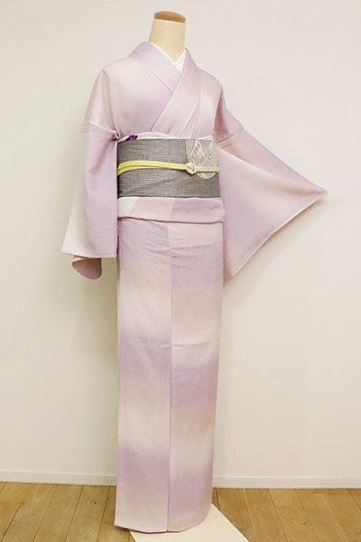 銀座【D-2591】単衣 紬縮緬地 小紋 白藤色×薄桜色 変わり段(反端付)