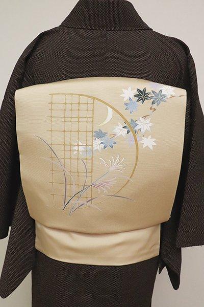 銀座【K-6965】塩瀬 染名古屋帯 香色 月に芒や楓の図