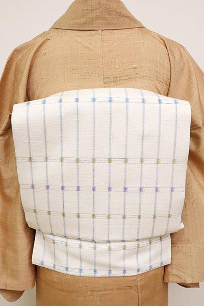 銀座【K-6967】奥順製 結城紬 織名古屋帯 白色 格子文(反端付)