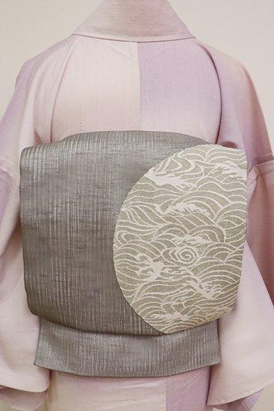 銀座【L-5175】夏 櫛織 洒落袋帯 薄鈍色 丸に波文