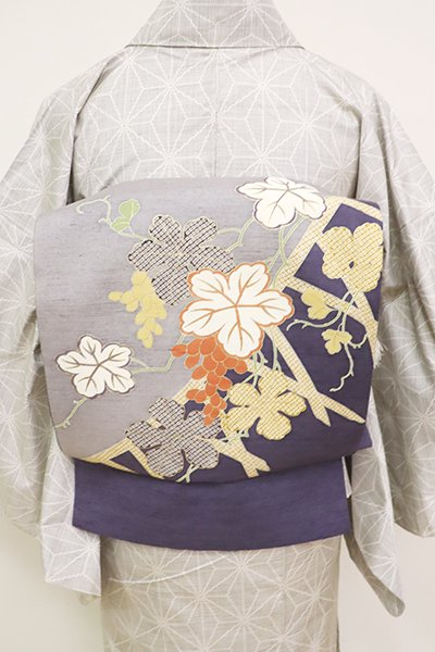 銀座【L-5178】紬地 洒落袋帯 褐色×桔梗鼠色 垣根に葡萄の図