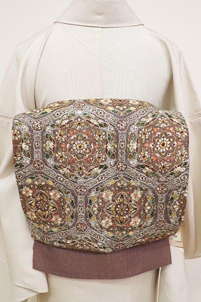銀座【L-5179】櫛織 刺繍 洒落袋帯 煤竹色 装飾華文