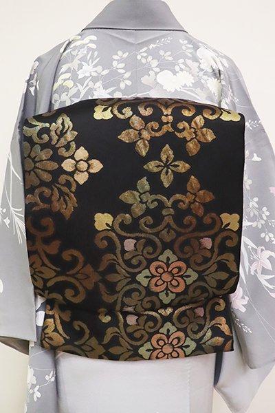 銀座【L-5180】西陣製 夏袋帯 黒色 華文(証紙付)(N)
