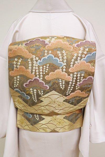 銀座【L-5183】花井幸子監修 袋帯 飴色 松藤や蝶の図