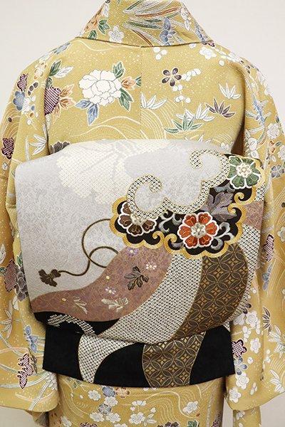 銀座【L-5184】洒落袋帯 黒色×白鼠色 隠れ蓑の図