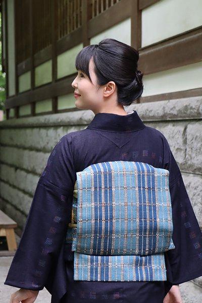 銀座【帯3501】福永世紀子作 丹波布 名古屋帯 (畳紙付)