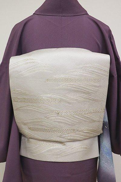 銀座【L-5186】西陣 加納幸製 袋帯 絹鼠色 波文(落款入)