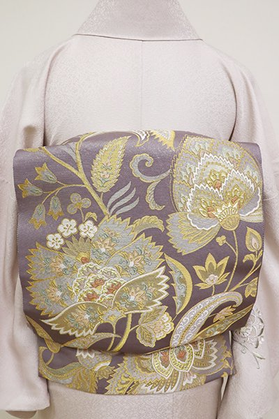 銀座【L-5187】西陣 本家加納製 袋帯 薄鼠色 更紗花文(落款入)