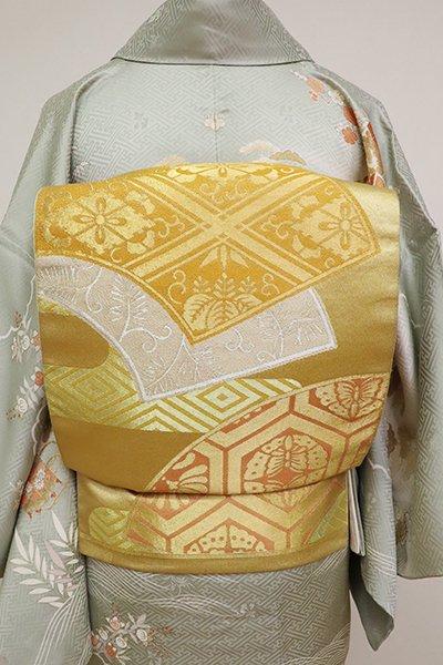 銀座【L-5188】西陣 川島織物製 本袋帯 金色 霞に地紙文(落款入)