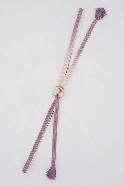 【S-403】京都 衿秀製 帯締め 綾竹組 古代紫色×練色 二色暈かし