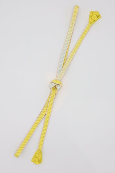 【S-405】京都 衿秀製 帯締め 綾竹組 刈安色×白藍色 二色暈かし