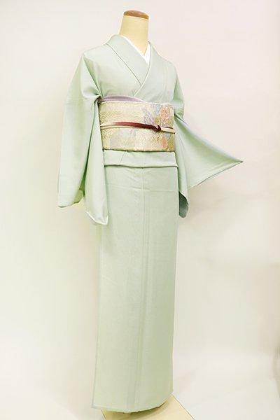 あおき【C-1928】絽 色無地 染一ッ紋 錆青磁色