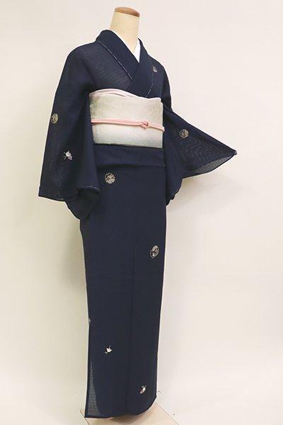 銀座【D-2598】(細め)竪絽 刺繍 小紋 濃藍色 雪輪に橘 (反端付)