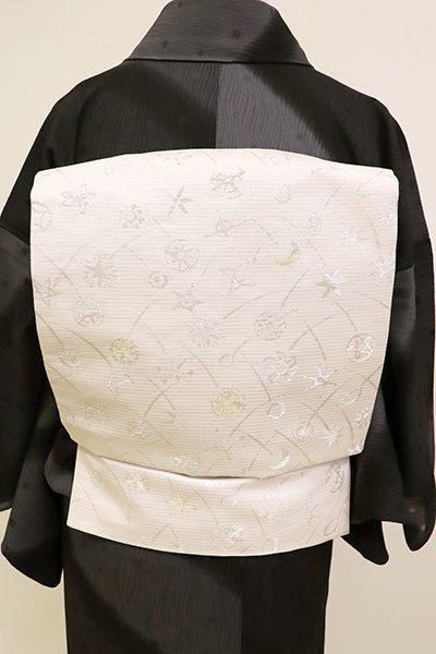 銀座【K-6977】西陣 川島織物製 絽 織名古屋帯 灰白色 天体文様(落款入)