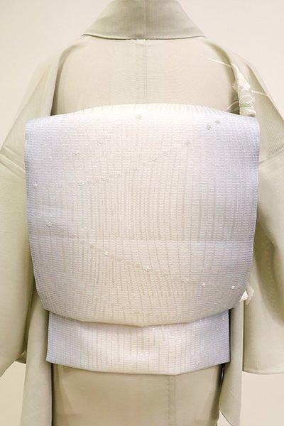 あおき【L-5193】夏袋帯 白色×淡い勿忘草色 竪暈かしに抽象文