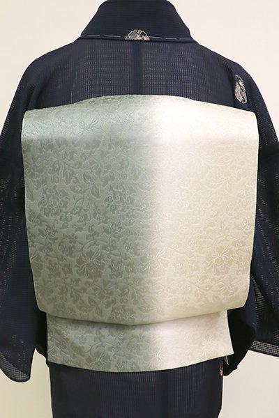 銀座【L-5194】夏袋帯 竪暈かし 青鈍色×灰黄緑色(反端付)