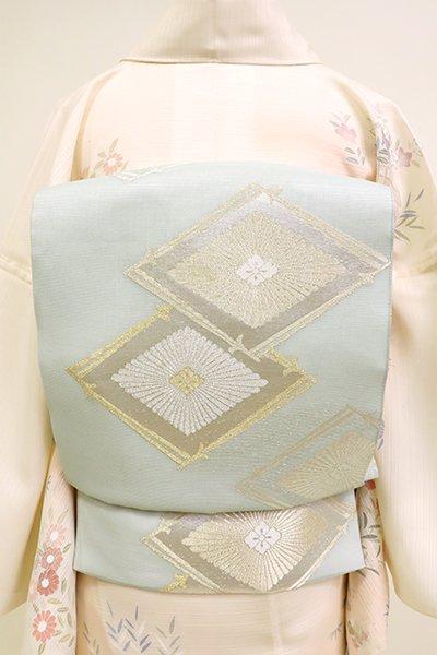 銀座【L-5195】紗 袋帯 千草鼠色 菱文