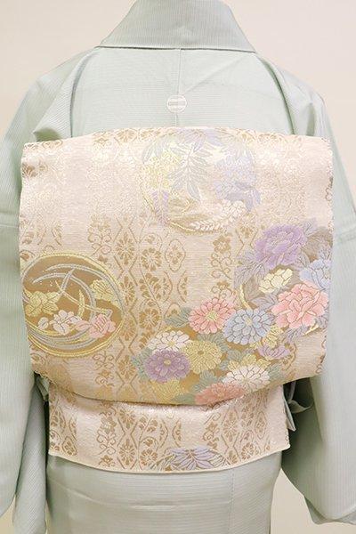 あおき【L-5196】夏袋帯 象牙色 四季花の丸文
