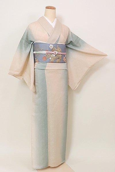 【D-2600】(S)紋紗 小紋 竪暈かし 青磁鼠色×薄香色