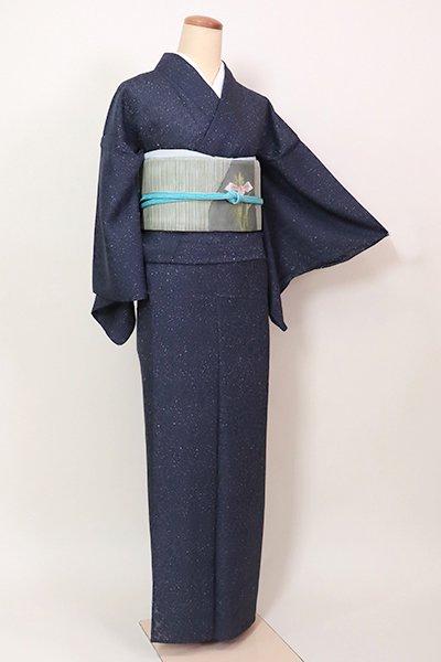 【D-2601】(細め)紋紗 小紋 蝋叩き染め 濃藍色 葉の地紋