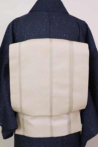 銀座【K-6980】夏 櫛織 名古屋帯 象牙色 竪縞