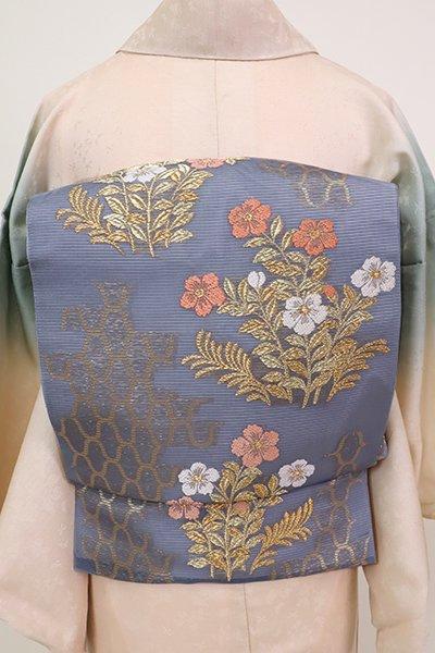 あおき【L-5197】絽 袋帯 薄花色 網目に花の図