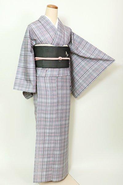 あおき【A-3173】単衣 紬 薄鈍色 格子(反端付・落款入)