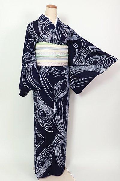 あおき【D-2602】(L)綿絽 浴衣 濃藍色 柳の図