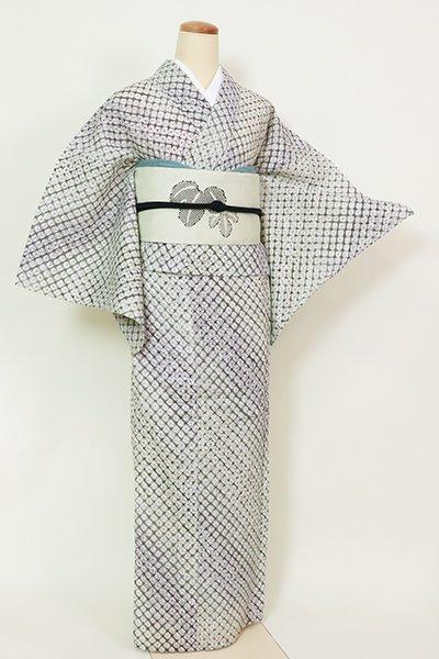 銀座【D-2605】木綿 一目絞り浴衣 濃鼠×岩井茶色 斜め暈かし