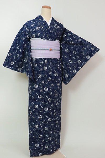 銀座【D-2606】(細め)綿絽 浴衣 濃藍色 蝶や牡丹の図