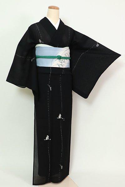 銀座【D-2607】(広め)紗紬地 小紋 黒色 流線に猫の図