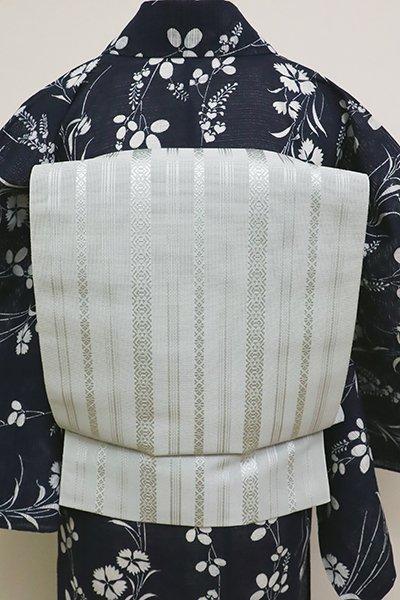 あおき【K-6223-2】本場筑前博多織 紗献上 八寸名古屋帯 淡い青磁鼠色 (証紙付) (N)