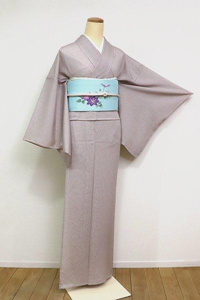 あおき【C-1897-2】絽 江戸小紋 万筋 紫鼠色 (反端付)(N)