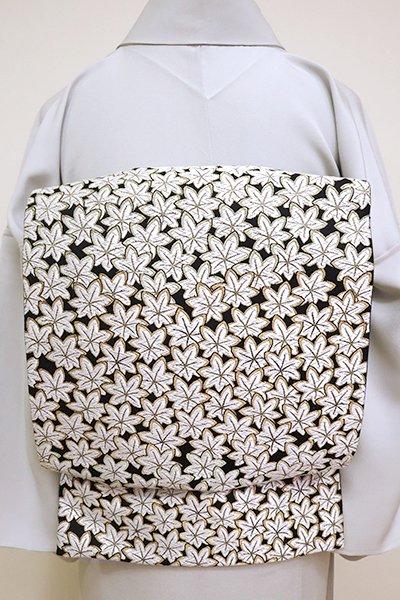 銀座【FR081-L-5207】西陣製 袋帯 黒色 楓の図(証紙付)