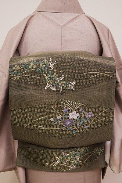 銀座【FR081-L-5209】袋帯 海松茶色 菱に萩や桔梗の図