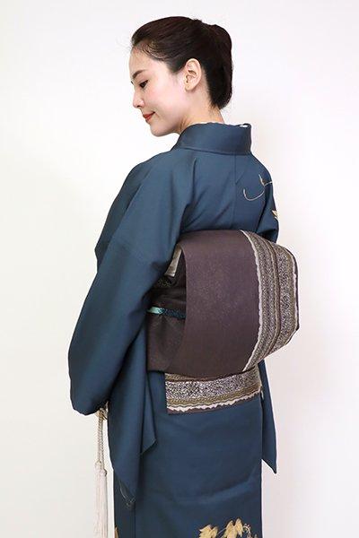 銀座【FR081-L-5214】洒落袋帯 黒橡色 装飾縞文