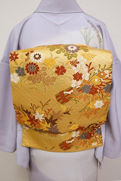 あおき【FR081-L-5216】唐織 袋帯 金色 秋草文
