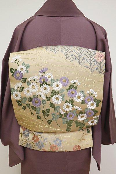 あおき【FR081-L-5218】袋帯 伽羅色 芝に菊や撫子の図