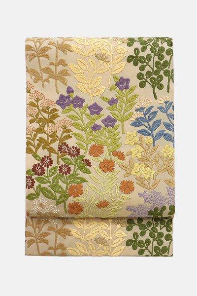 銀座【帯3511】唐織 袋帯 白橡色 秋草文 (畳紙付)