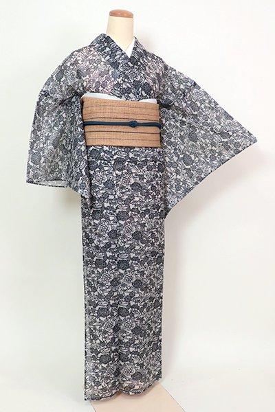 銀座【D-2609】絹紅梅 浴衣 絹鼠色 流水に四季花の図