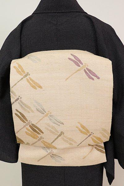 あおき【K-6985】紬地 染名古屋帯 浅黄色 蜻蛉の図