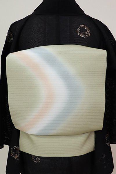 銀座【K-6987】きもの英製 絽塩瀬 染名古屋帯 裏葉柳色 抽象文(畳紙付)
