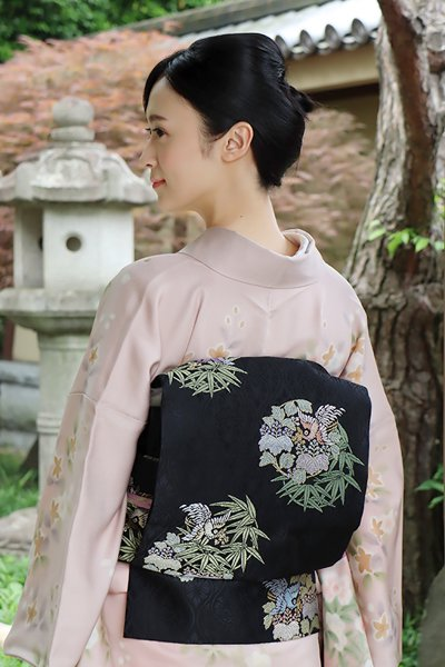 銀座【帯3532】西陣 紋屋井関製 御寮織 袋帯 (反端証紙付)