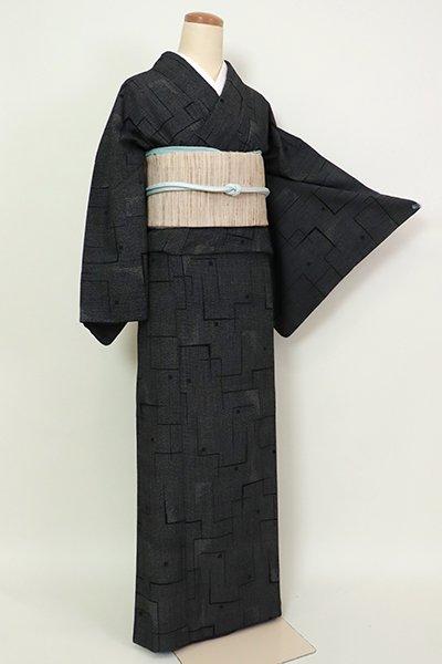 銀座【A-3176】塩沢紬 黒色 幾何文(反端付)