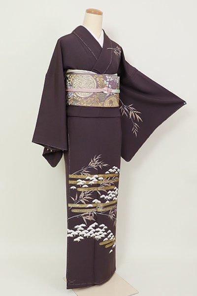 銀座【B-2681】訪問着 似せ紫色 霞に笹と松の図(反端付)