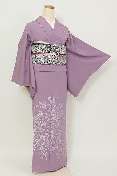銀座【B-2682】(細め)繍一ッ紋 付下げ 深い浅紫色 更紗花文(小田急扱い)