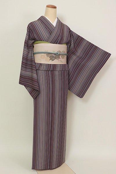 あおき【D-2612】(S・細め)小紋 紫鳶色 多彩な竪縞(反端付)
